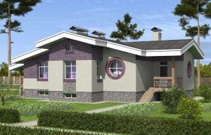 Двухэтажный кирпичный дом с цокольным этажом и террасой